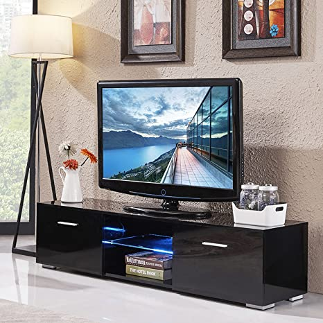 OHOJIDA - Mueble de TV de Color Negro Brillante, Estilo Moderno ...