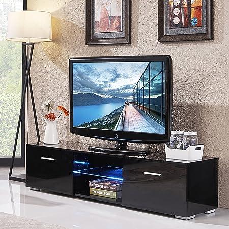 OHOJIDA - Mueble de TV de Color Negro Brillante, Estilo Moderno, para Sala de Estar, Centro de Entretenimiento con luz LED para Pantallas Planas de TV de hasta 60 Pulgadas: Amazon.es: Juguetes