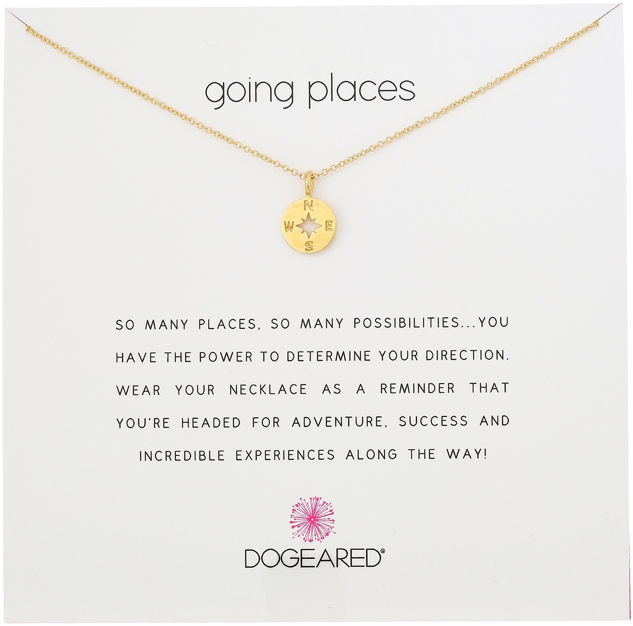 Dogeared Going Places Compass Disc Gold Dipped Chain Necklace, 18''