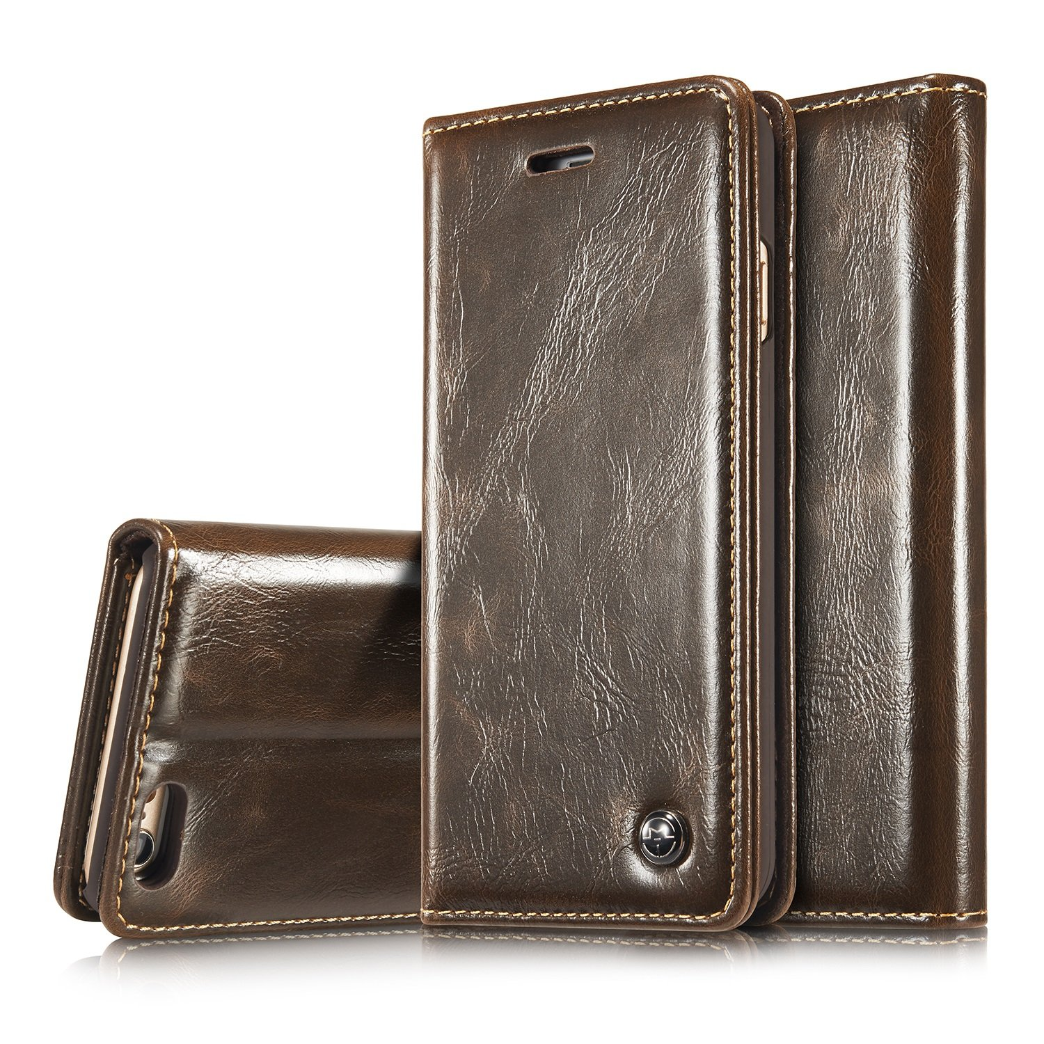 SRY-LED For iPhone 6Plus CaseMe iPhone6 Wallet Case Flip PU Leather Phone Case with Card Slot and Magnet Clutch Foldable ( Color : Brown , Edition : Iphone6/6s )