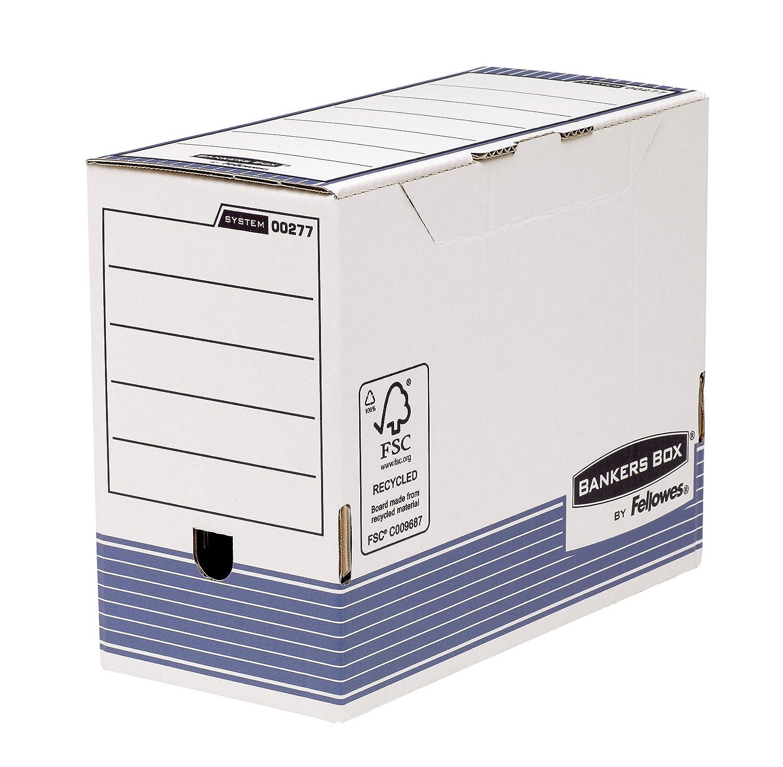 Bankers Box System Scatola Archivio in Cartone Riciclato con Sistema di Piegatura Veloce, A4, 150 mm, Bianco/Grigio, 6 Pezzi Fellowes GmbH 0027703