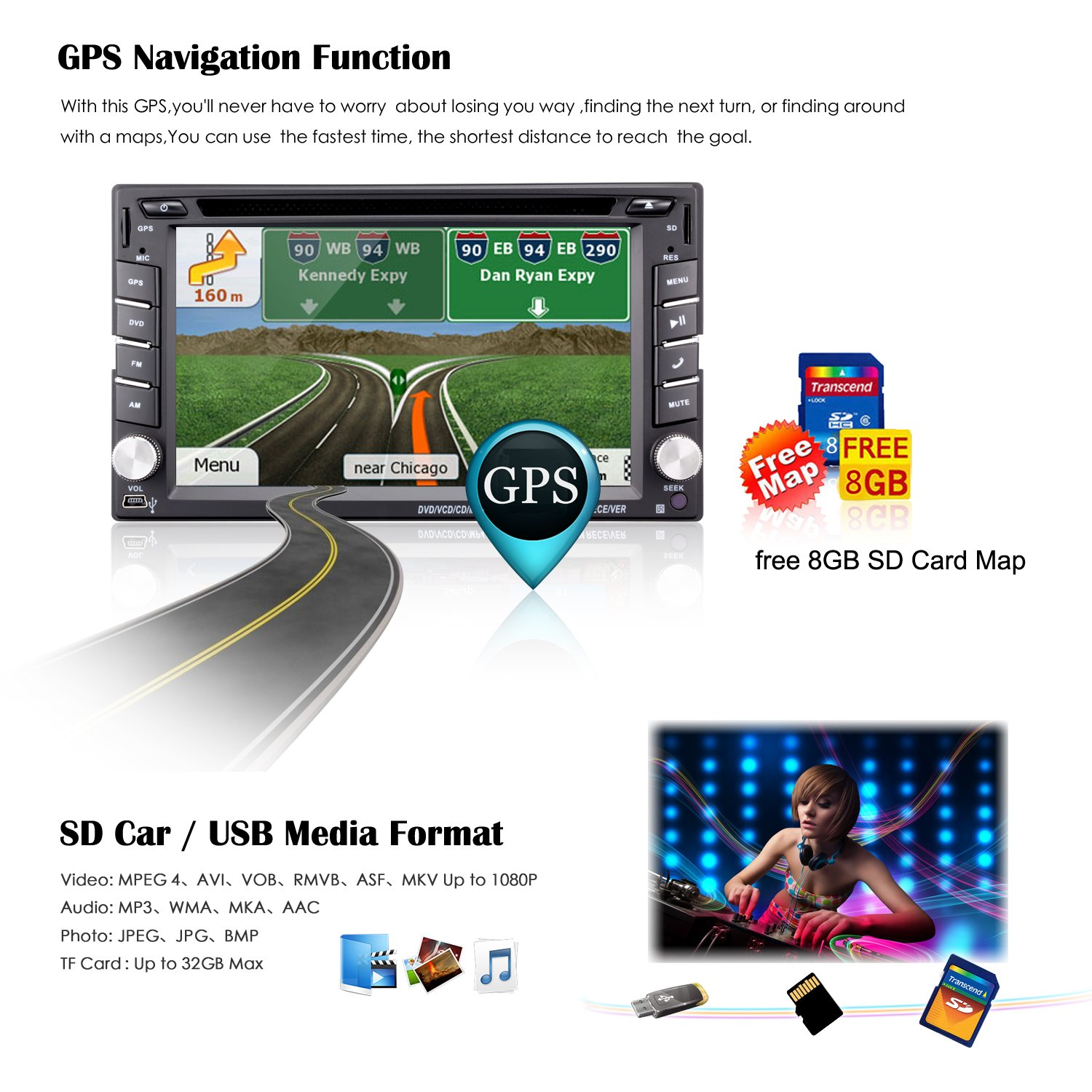 62 Double Din Car Stereo Gps Navigation Wire Harness Connectors Ouku Ehotchpotch Radio Head Units Touch Screen Dvd Player In Dash Audio Am Fm