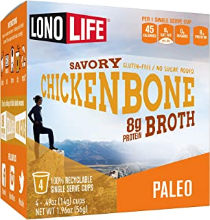 product image for LonoLife Chicken Bone Broth Powder with 10g Protein, Single Serve Cups, 4 Count
