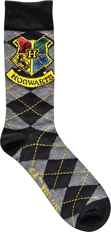 Harry Potter Hogwarts Crest Argyle Pattern Men's Crew Socks