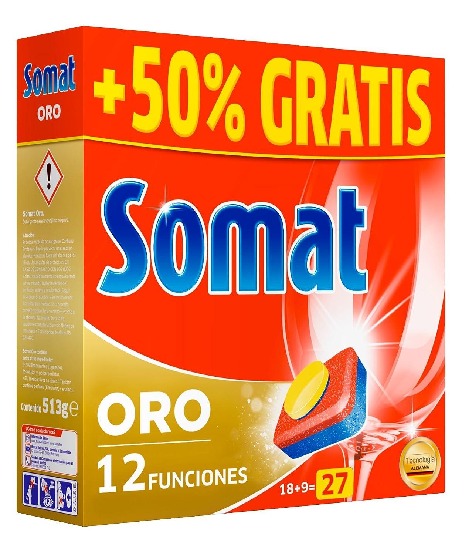 Somat 10 Oro - Detergente multifunción en pastillas para lavavajillas máquina 18 + 9D=27 (1 unidad): Amazon.es: Alimentación y bebidas