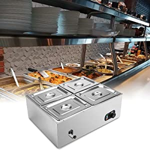 110V 4-Pan Commercial Food Warmer, 1500 W Electric Steam Table 15 cm / 6 inch Deep, Professional Stainless Steel Buffet Bain Marie 44 Quart for Catering and Restaurants