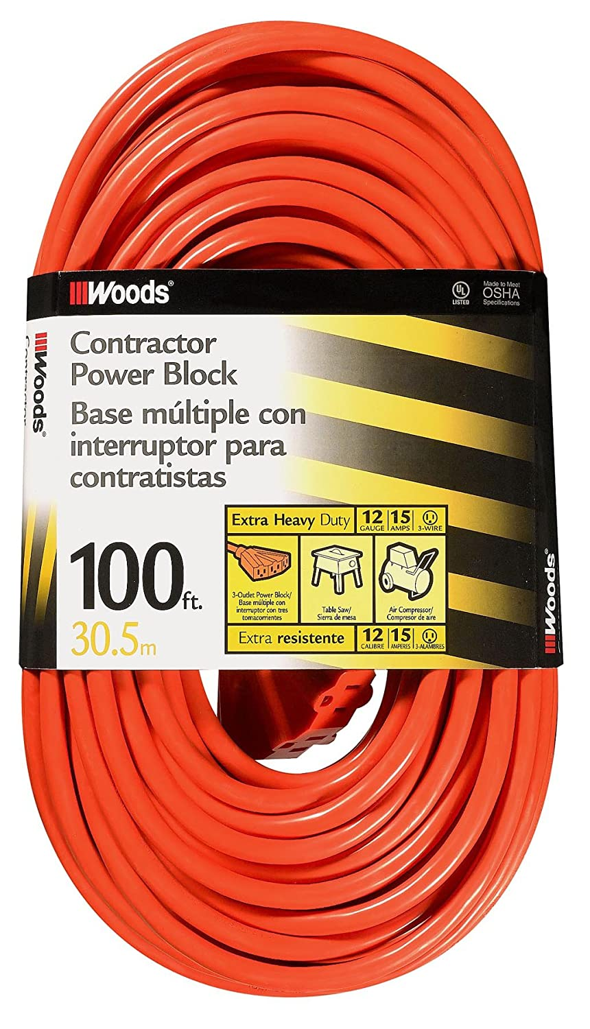 Woods 990824 12/3 Outdoor Multi-Outlet Extension Cord, 2-Foot, Orange - - Amazon.com