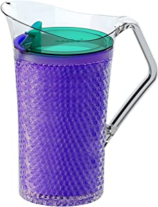 Asobu Iceberg Pitcher with Freezable Double Walls for Water Beer or Tea Bpa Free 50 Ounce (Purple)