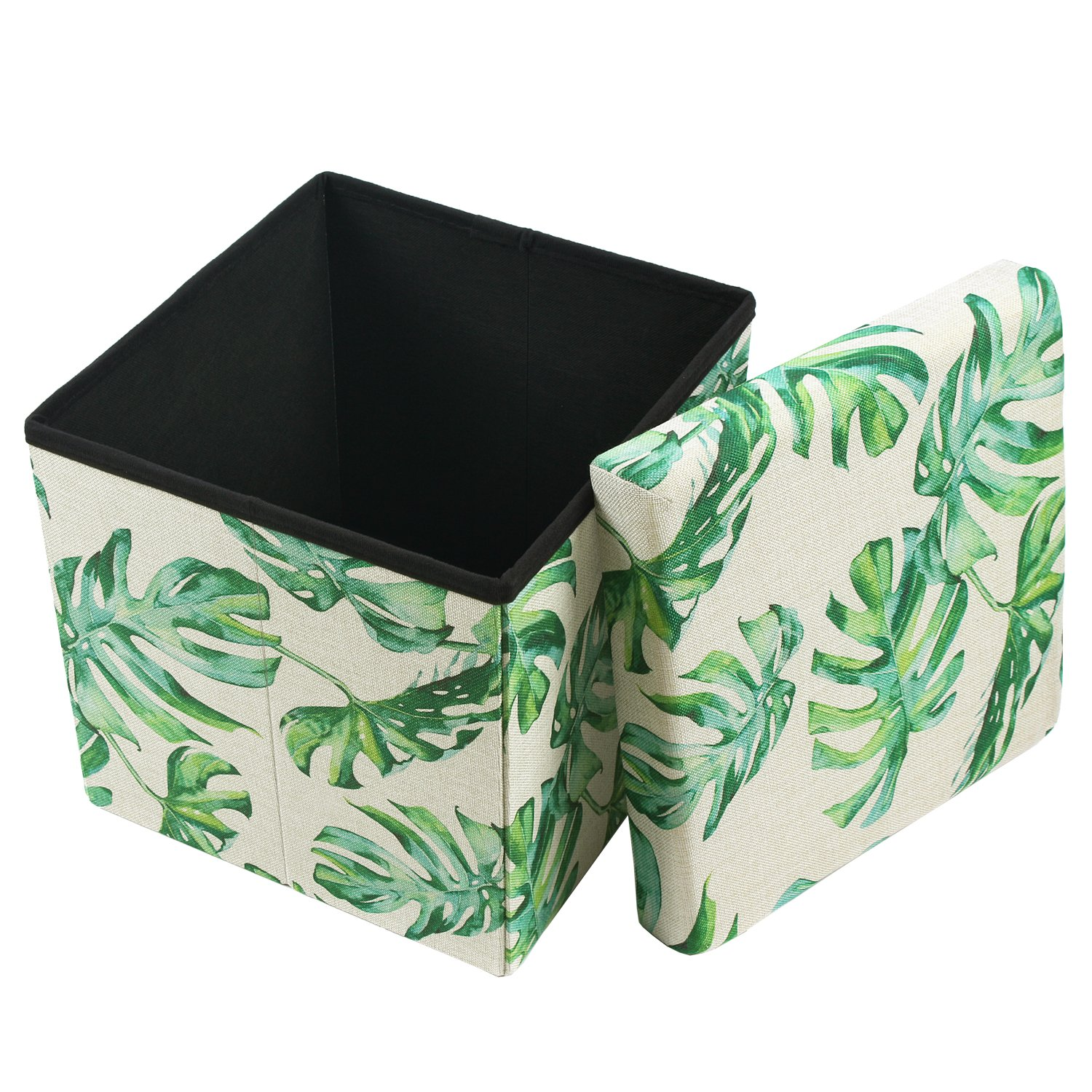 Ikee Design Tropical Leaves Pattern Folding Storage Ottoman – Split Leaf Philodendron Polyester Collapsible Cube Foot Rest Stool Coffee Table