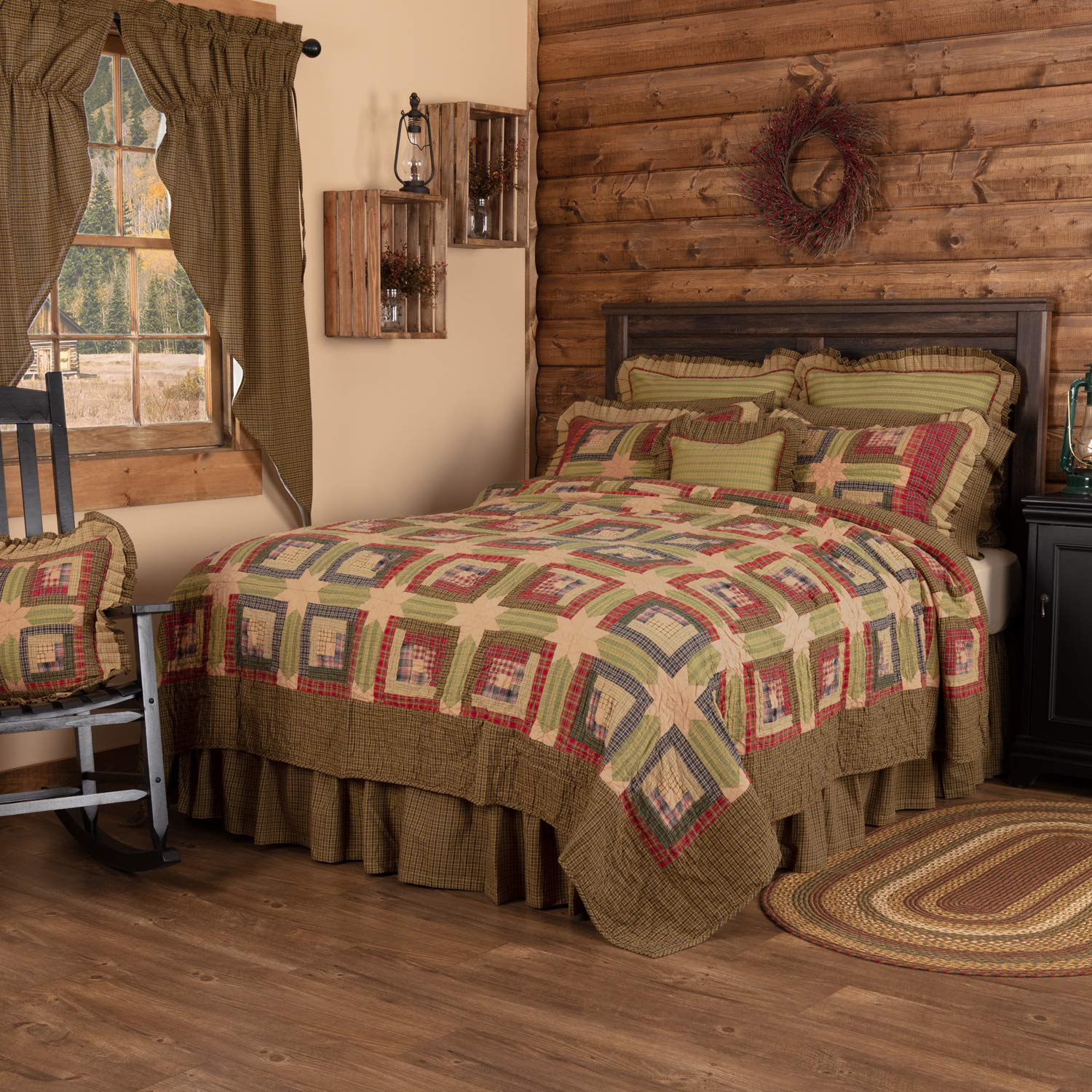 VHC Brands Rustic & Lodge Bedding - Tea Cabin Green Quilt, Queen