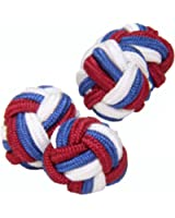 Red, White & Blue Silk Knot Cufflinks | Cuffs & Co