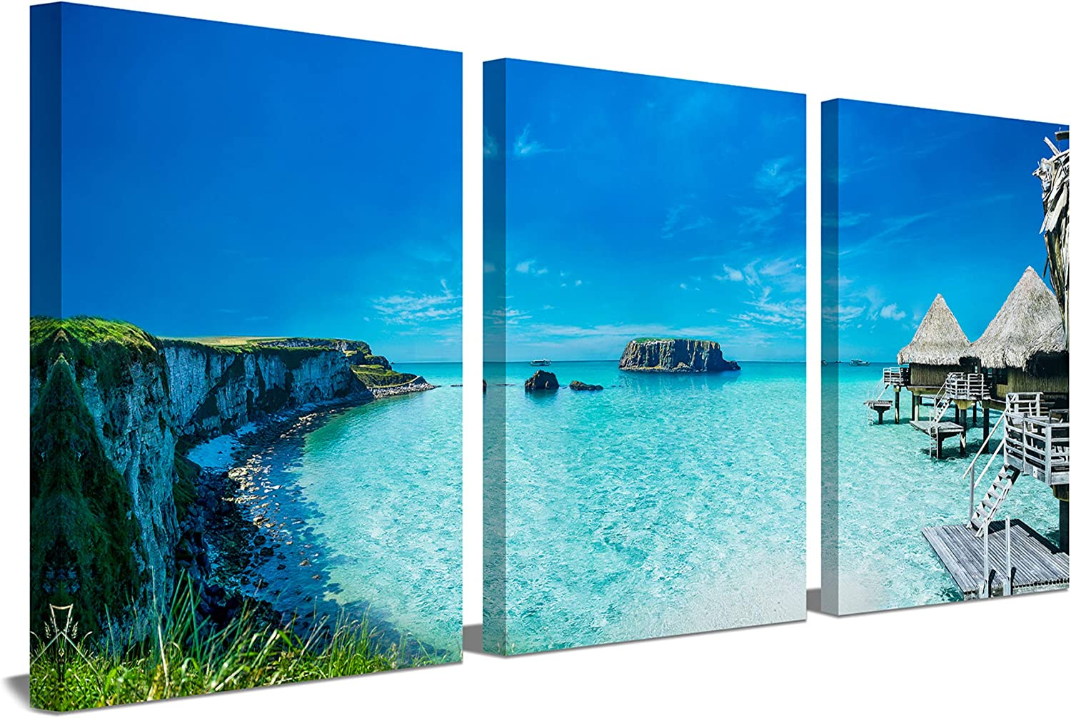 Amazon Com Blue Sea Canvas Wall Art For Home Wall Clearance Decoration 12x16inchx3panels Framed Living Room Polynesia Overwater Bungalow Wall Picture Nipa Hut Beach Cottage Decor Painting Seascape Prints Artwork Posters Prints