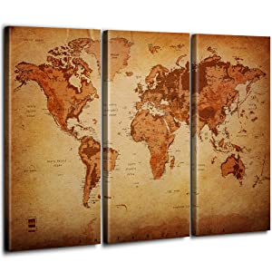 Vintage World Map Canvas Wall Art for Home Decor 3 Panel Large Map of the World Posters Prints Oil Painting Modern Artwork Altitude Leather Texture Style Maps Office Decorating Kitchen/Dining Room