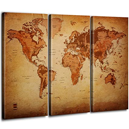 Vintage World Map Canvas Wall Art For Home Decor 3 Panel Large Of The