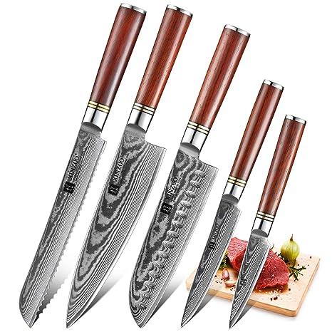 Compra XINZUO 5 Piezas Set Cuchillo Cocina de Acero Damascus ...