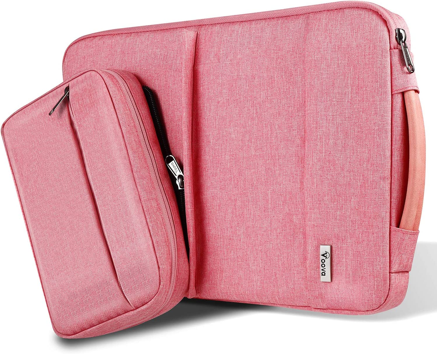 Voova 14-15.6 Inch Laptop Sleeve Carrying Case, Upgrade Smart Computer Bag with Detachable Accessory Pocket Compatible with MacBook Pro 15 16, Surface Book 2/Laptop 3 15 Chromebook for Women, Pink
