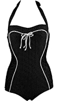Cocoship Vintage Inspired Pin Up One Piece Bandeau Floral Polka Maillot Swimsuit(FBA)