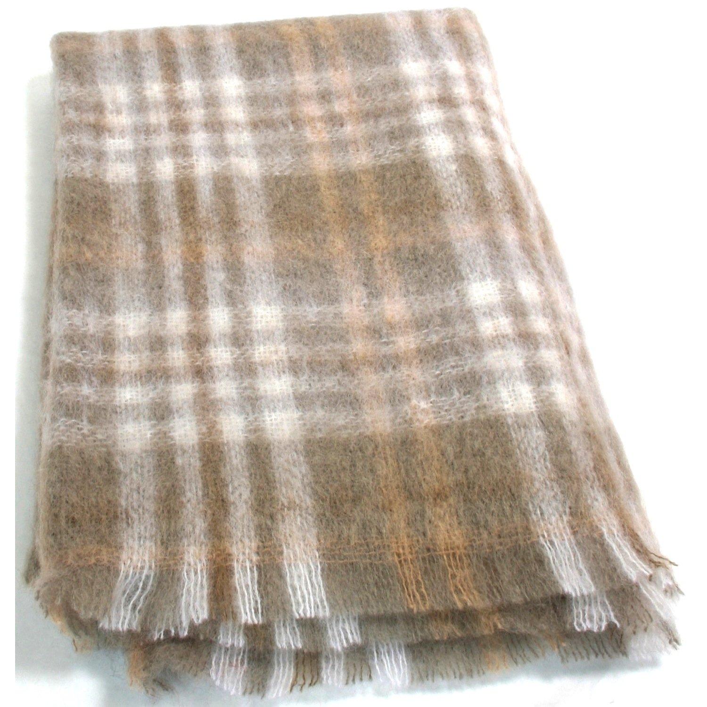 Tan Check Luxus Irish Mohair Decke Überwurf. (groß 182 cm x 137 cm)