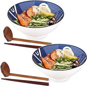 Ceramic Japanese Ramen Bowls, 2 Sets (6 Piece) 40 Ounce - Ceramic Ramen Noodle Soup Bowls with Matching Spoon and Chopsticks for Salad Udon Soba Pho Asian Noodles