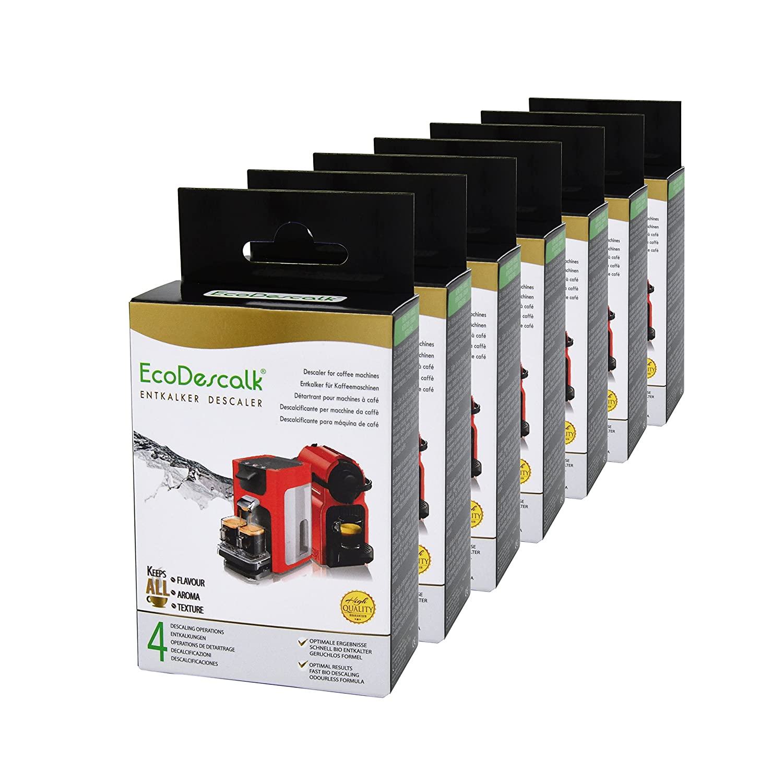 EcoDescalk, 7 Pack x 4 Sobres. Descalcificador en Polvo para Cafeteras. para Todas Las Marcas, Bosch, Nespresso, Krups, DeLonghi, Tassimo...28 ...