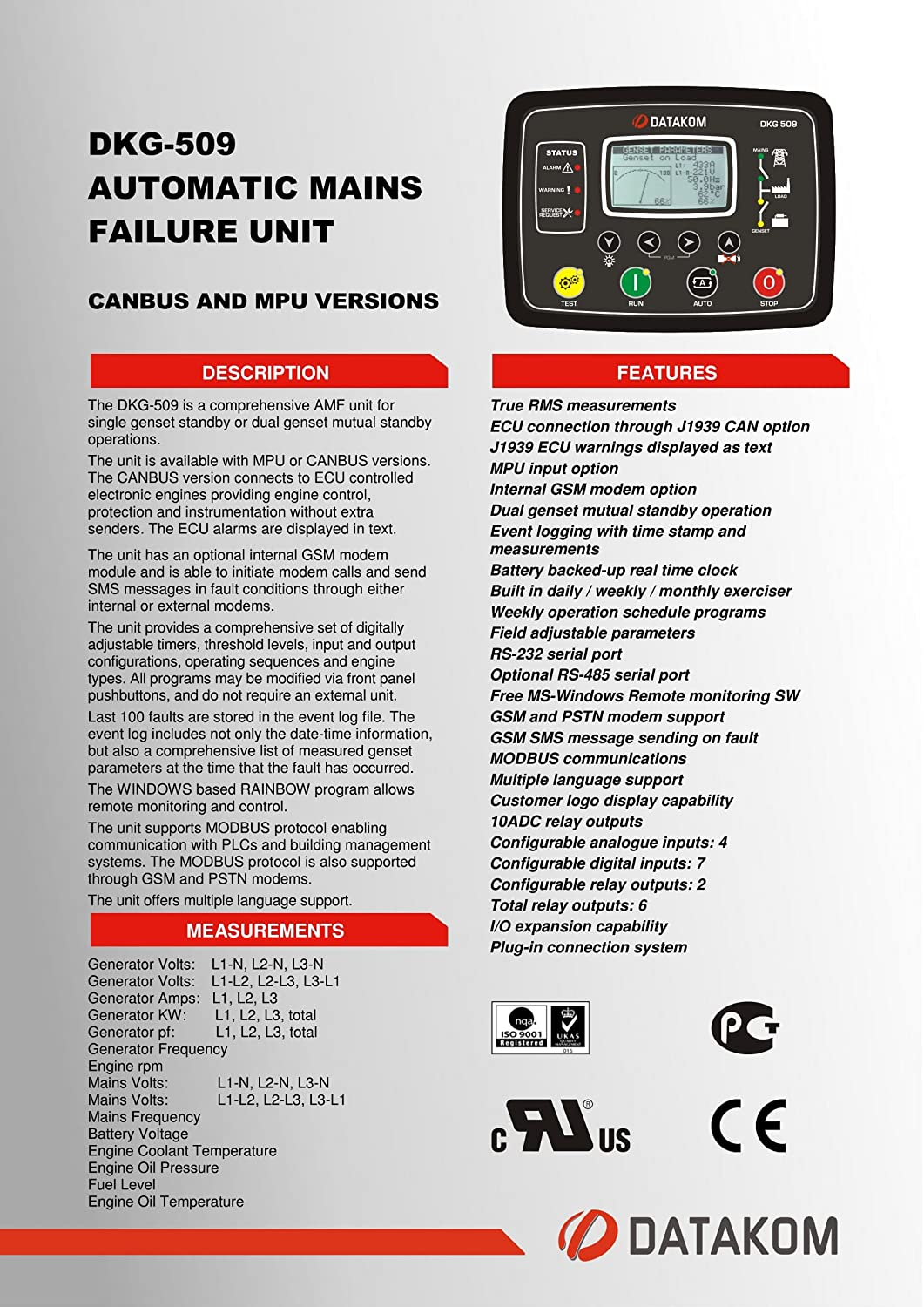DATAKOM DKG-509 MPU Generator Start Automatic Mains Failure Control Panel /  AMF Controller: Electronic Controllers: Amazon.com: Industrial & Scientific