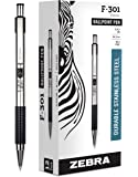 Zebra 27310 F-301 Ballpoint Stainless Steel Retractable Pen, Bold Point, 1.6mm, Black Ink, 12-Count