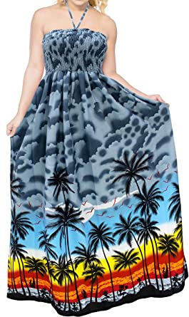 804cde0446d97 LA LEELA Soft Printed Beach Formal Long Dress Womens Grey 3416 One Size