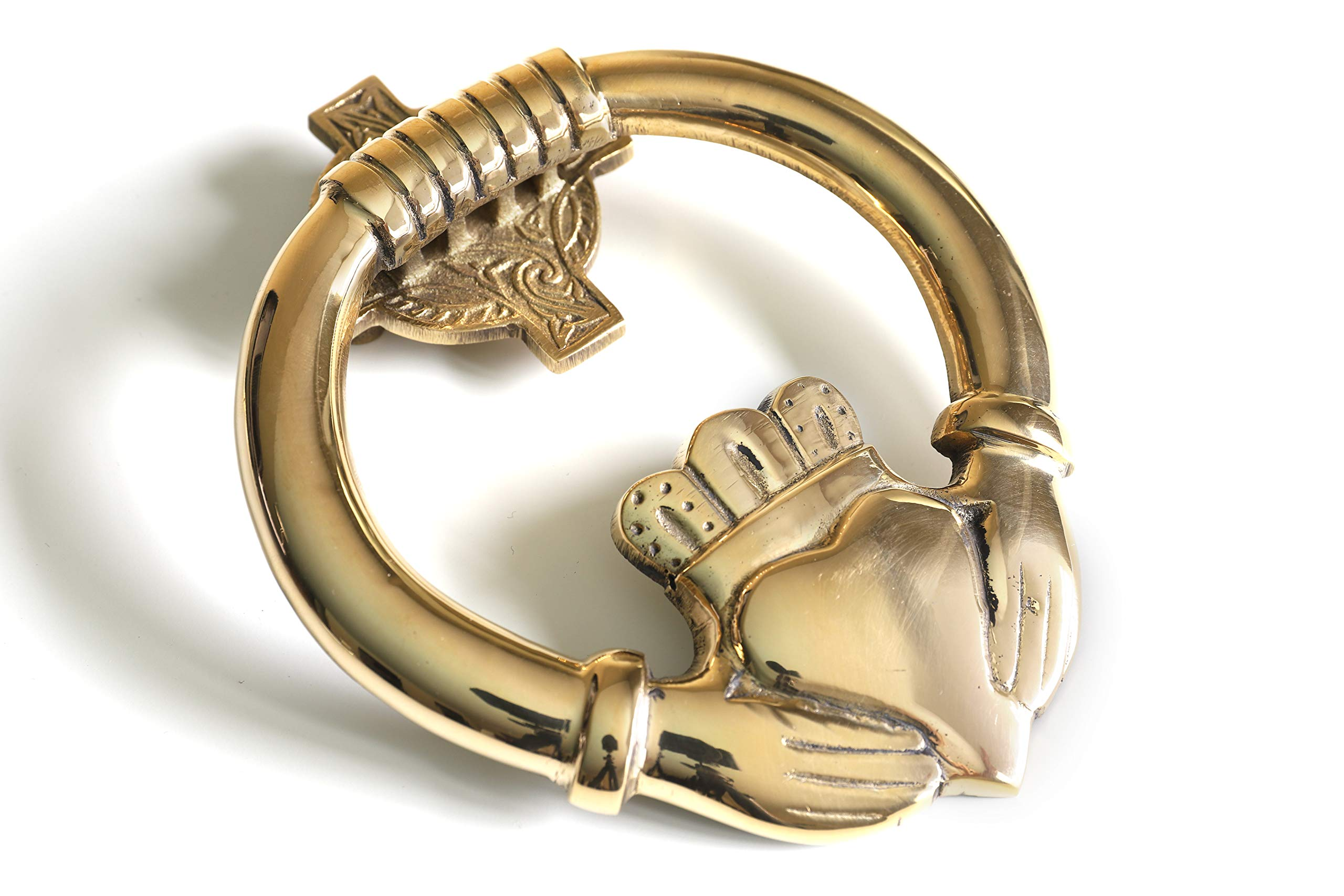 Claddagh Door Knocker 7'' x 5 ½'' Large Durable Solid Brass Heavy All Fittings Supplied Designed in Ireland
