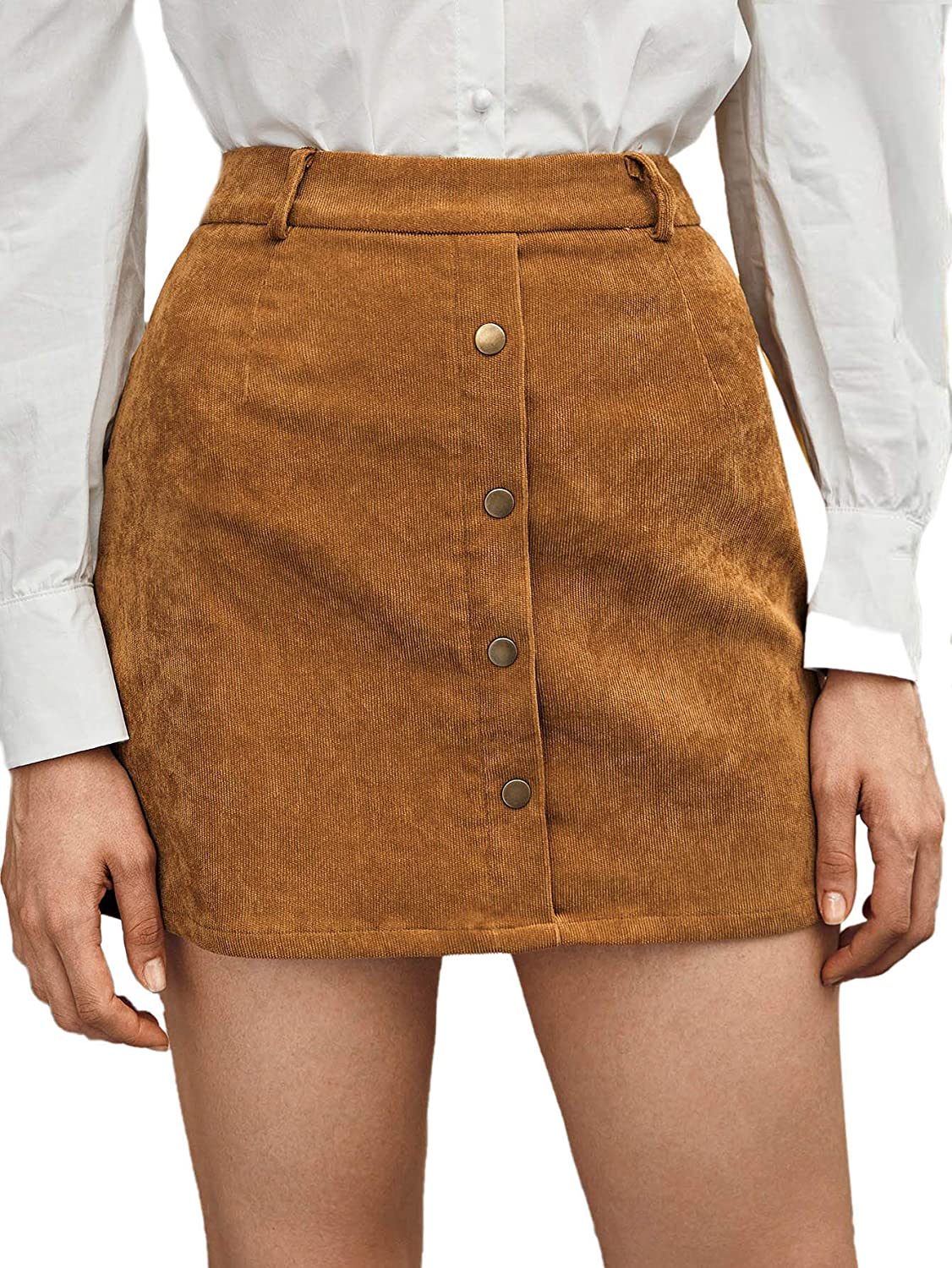 WDIRARA Women's Corduroy A-line Button Front Mid Waist Casual Mini Skirt