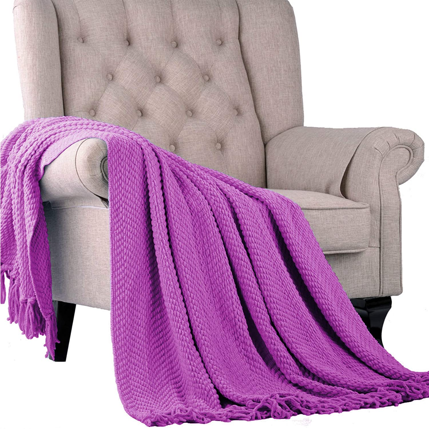 50 x 60 Home Soft Things Boon Knitted Tweed Throw Couch Cover Blanket Silver BNF Home BAF131205TT-SI