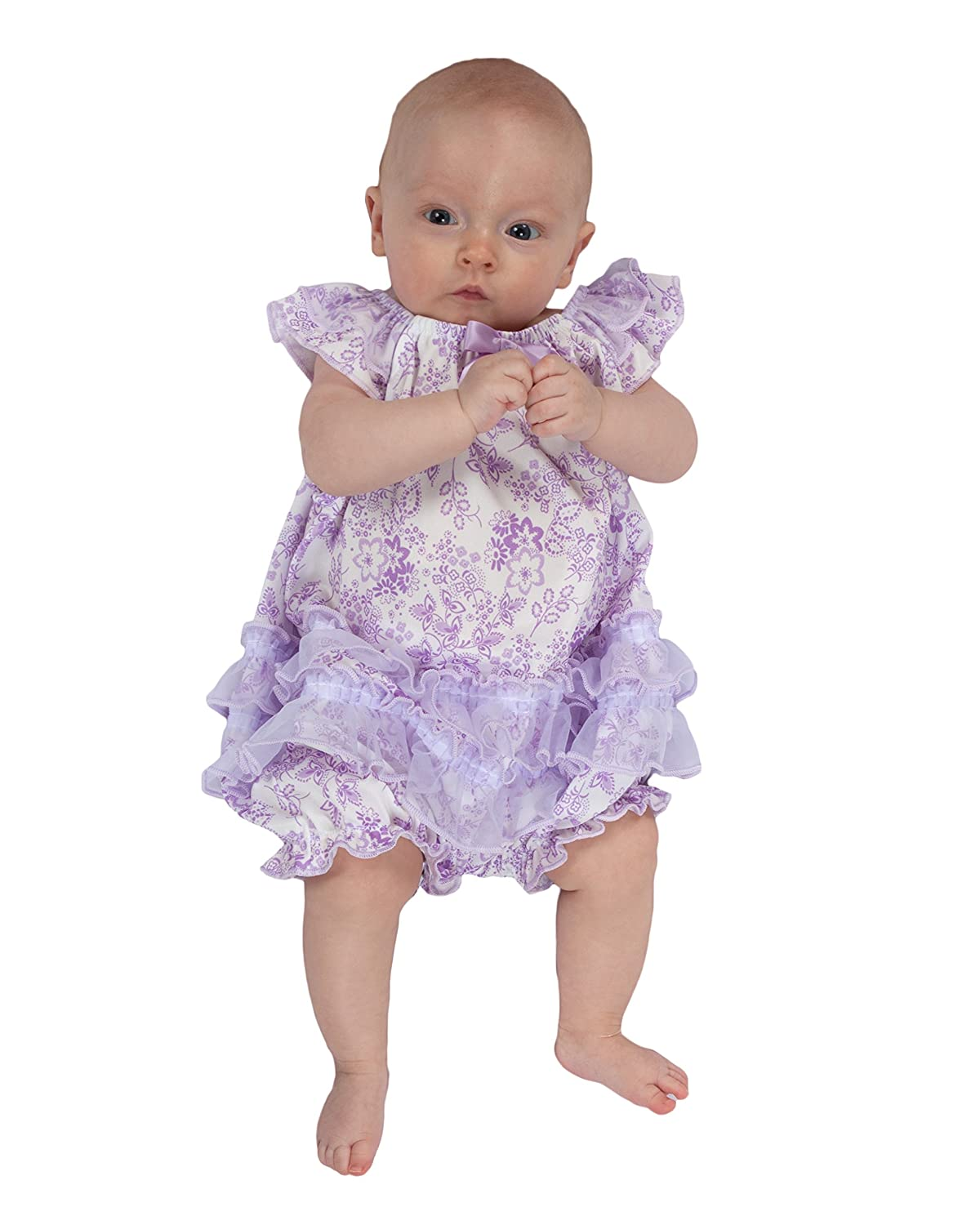 Laura Dare Baby Girls Lovely Lavender Floral Frilly Romper