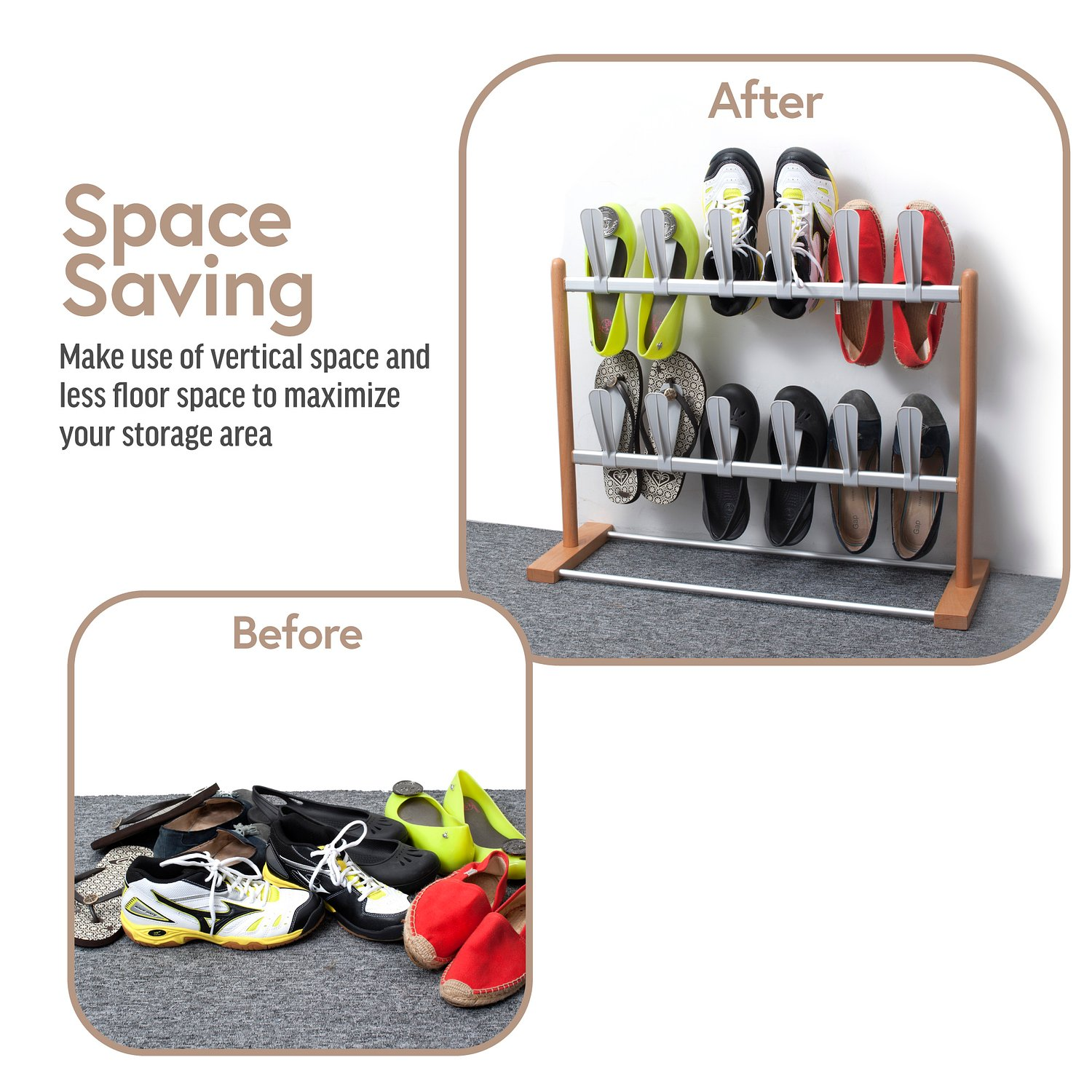 Amazon.com: INNOKA Modern Pop On Shoe Rack with Sturdy Base and ...