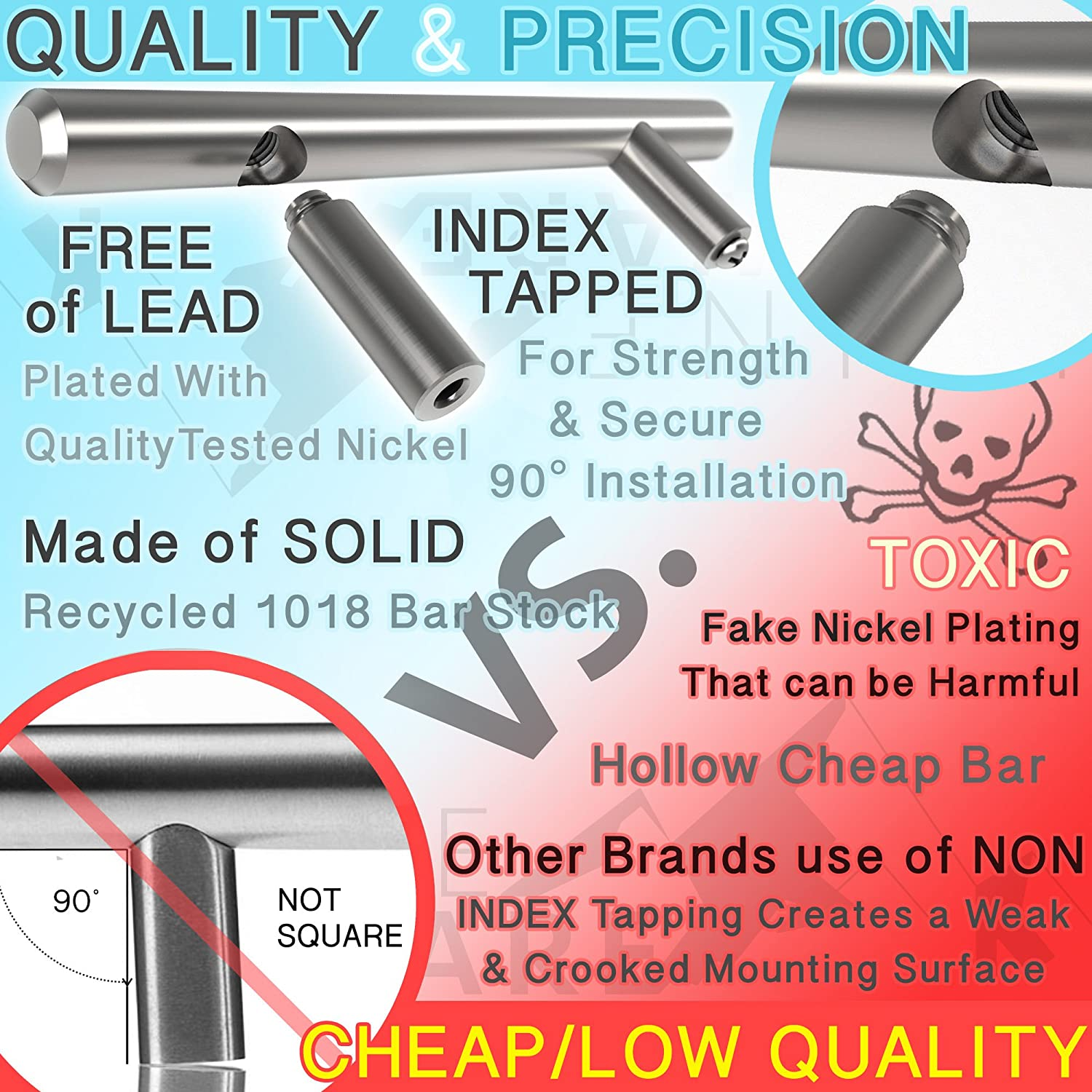 25pc SOLID Stainless Steel, Bar Handle Pull: 3\