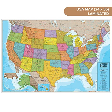 Waypoint Geographic Blue Ocean USA Wall Map (24
