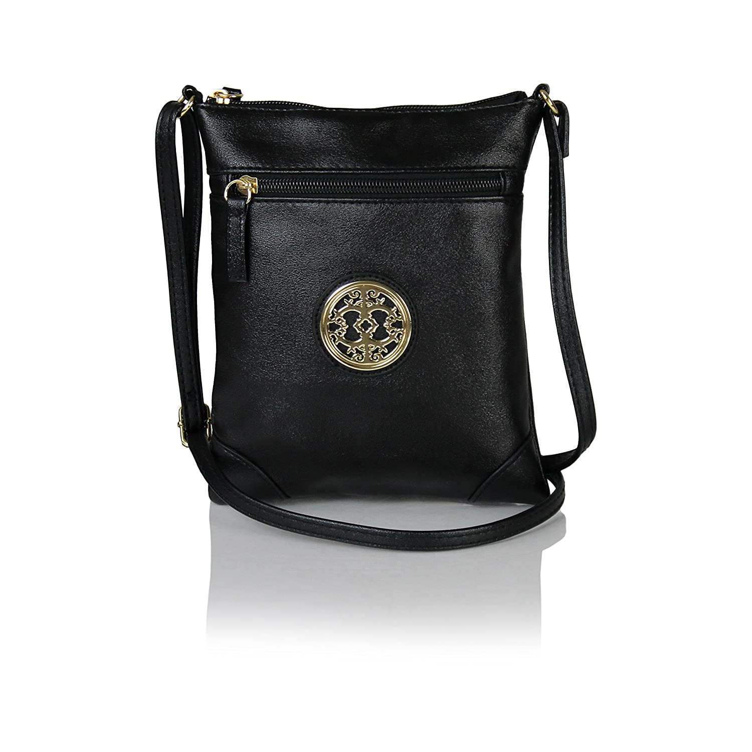 8986aed55e3f Chic Mini Vegan Leather Crossbody Purse with Gold Medallion Small Festival  Bag (Black)  Handbags  Amazon.com