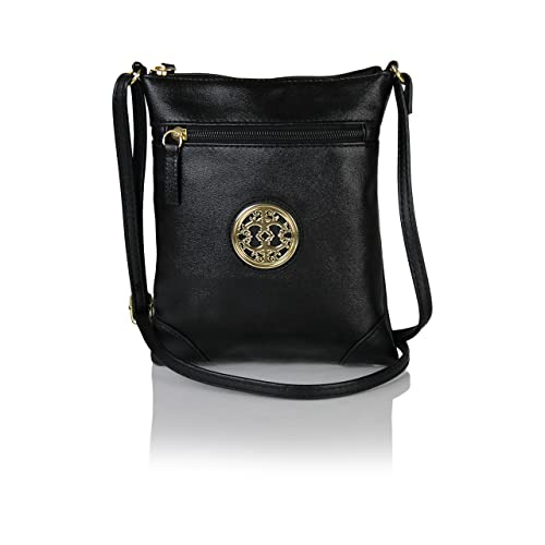 c8cedf1543a Image Unavailable. Image not available for. Color  Chic Mini Vegan Leather  Crossbody Purse with Gold Medallion Small Festival Bag (Black)