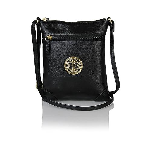 e0798ad139d5 Chic Mini Vegan Leather Crossbody Purse with Gold Medallion Small Festival  Bag (Black)