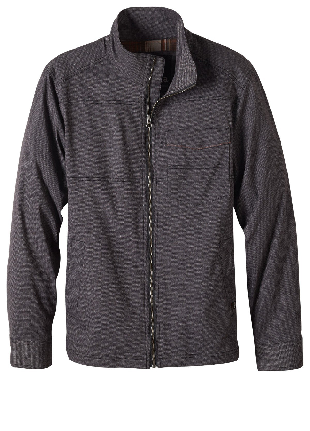 prAna Men's Zion Jacket Charcoal L & HDO Sport Travel Sunscreen (15 SPF) Spray Bundle