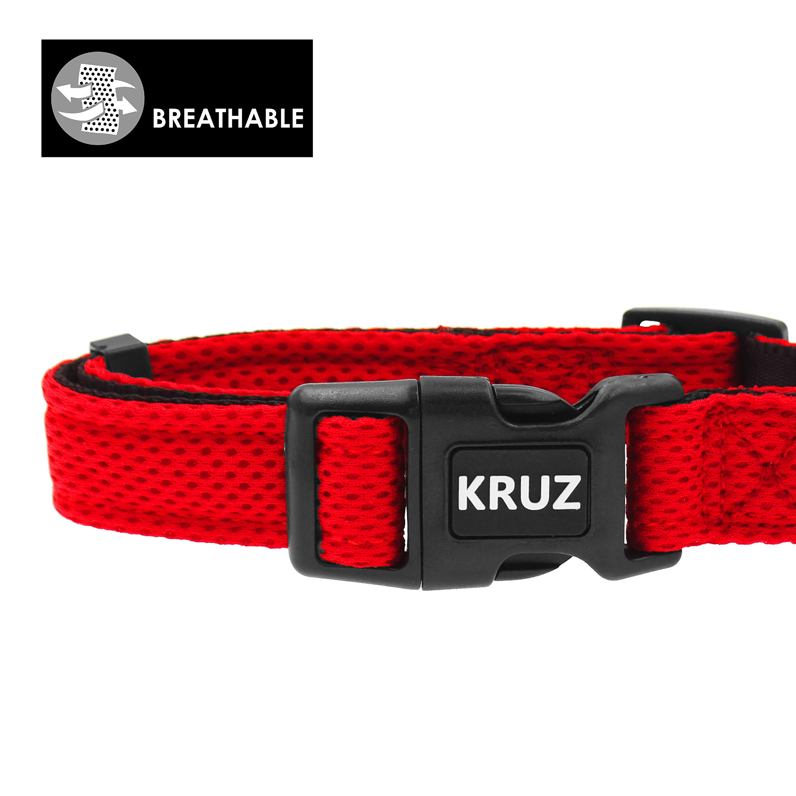 KRUZ PET KZA102-14L Breathable Mesh Dog Collar, Soft and Strong, Large