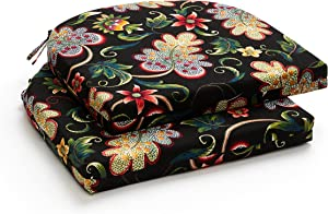 LOVTEX Patio Indoor Outdoor Furniture Cushions Water-Resistant Chaise Lounge Chair Bench Cushions Black Floral Round Corner Seat Cushions 4 Pieces