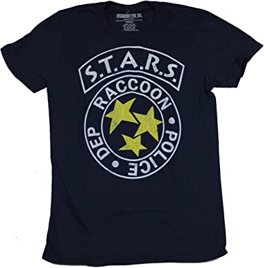 American Classics Resident Evil Mens T-Shirt - Stars Raccoon Police Department Logo (Small) Blue