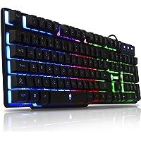 Teclado Semi Mecanico Gamer para PC, PS4, Computador, Notebook com Led Iluminado Rainbow Backlight USB