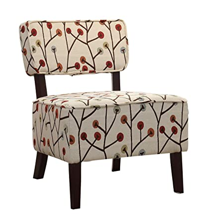 Homelegance 1191F5S Armless Accent Chair, Beige With Multi Colored Poppies  Stitching Fabric
