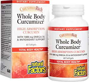 CurcuminRich Whole Body Curcumizer by Natural Factors, Supports a Healthy Heart, Joints, Brain and Inflammatory Response with Omega-3 EPA and DHA, 60 softgels (30 Servings)