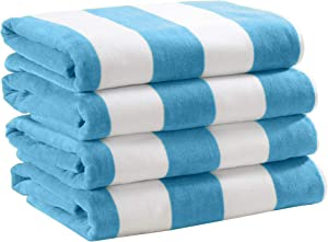 4 Pack Plush Velour 100% Cotton Beach Towels. Cabana Stripe Pool Towels for Adults. (Air Blue, 4 Pack- 30
