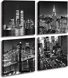 New York City Canvas Wall Art Print Black and White Brooklyn Bridge,Empire State Building Wall Art Modern Giclee Artwork for Office Home Decor 14x 14inch
