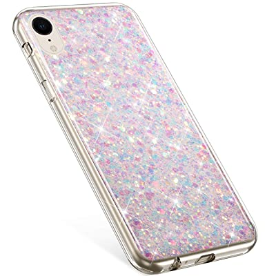 Compatible with iPhone XR Case,PHEZEN Girls Women Bling Shiny Glitter Sparkle TPU Case Flexible Rubber Silicone Case Full Body Protective Phone Case Cover for iPhone XR, Purple