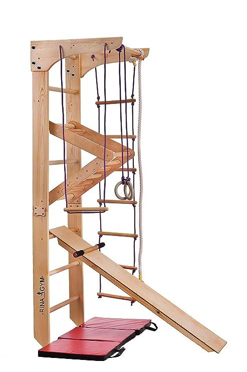 RINAGYM GmbH Sportgerät Turnwand Klettergerüst ˝Kinder-3-220˝ Holz Kinder  Gym Kletterwand Sprossenwand mit Stange Fitness