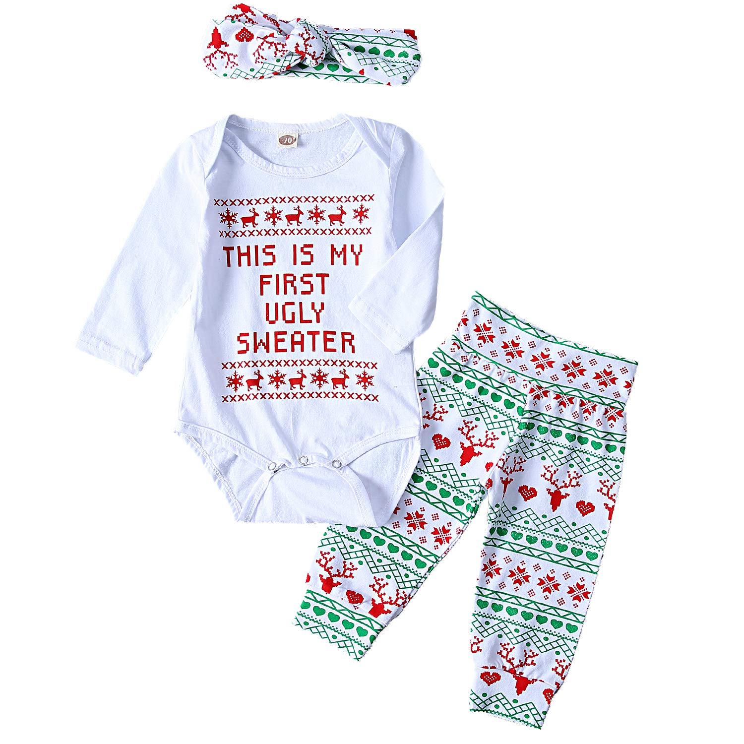 3Pcs Infant Baby Girls Boys Christmas Outfits Long Sleeve Deer Letter Print Clothes Set White)
