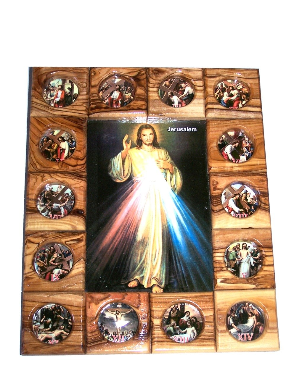 Holy Land Market Divine Mercy with Stations of The Cross Icon Plaque All in Olive Wood from Bethlehem 29 x 24 cm or 11.5 x 9.5 inches